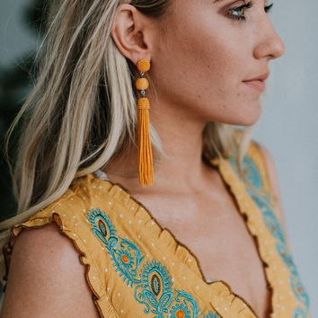Emmette Tassel Dangle Drop Earrings - Mustard