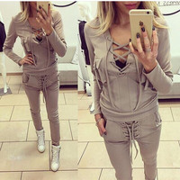 Autumn Winter Fashion V Neck Casual Suit [9535825476]
