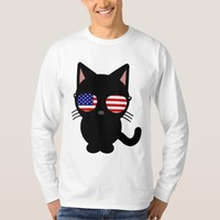 Patriotic Black Cat Funny T-shirts, Sunglasses Tee Shirt