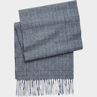JOSEPH & FEISS BLUE WOVEN PLAID WOOL SCARF