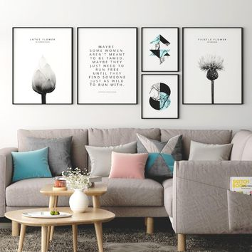 Posters and Prints Scandinavian Decor Lotus Thistle Flower Marble Quotes Poster Picture for Living Room Wall Art Canvas Print