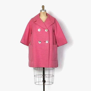 Vintage 60s Givenchy Adpatation COAT / 1960s Bubblegum Pink Textured Wool Mod Big Pocket Jacket