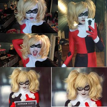 Top Quality ! Fashion Style Batman Harley Quinn Short Curly Golden Blonde Party Cosplay Wig Heat Resistance + Wig Cap