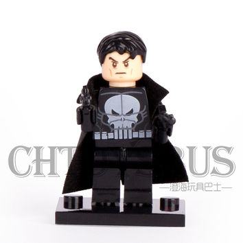 SingleSale Punisher with Cloak Frank Castle Spider-Man Super Heroes The Avengers Minifigures Assemble Building Blocks Kid Toy