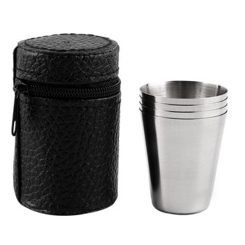 1 Set of 4 Stainless Steel Cover Mug Camping Cup Mug Drinking Coffee Tea With Case Ideal for Camping Holiday Picnic 3 Sizes