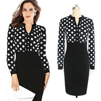 Women Long Sleeve Dress V-Neck Polka Slim Bodycon Knee Length Mini Dress = 1956859588