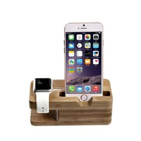 Apple Watch Stand, TROND AC3 Bamboo Dual Charging Stand Cradle Holder for Apple Watch / Sport / Edition (38mm & 42mm) and iPhone 5 / 5C / 5S / 6 / 6 Plus
