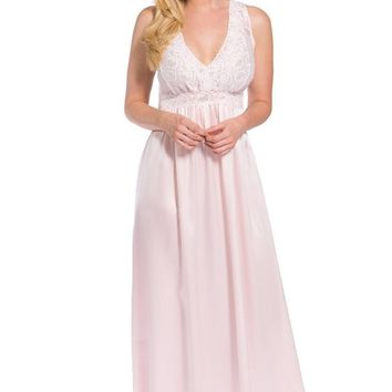 Women's 100% Pure Mulberry Silk Long Nightgown with Lace Bodice