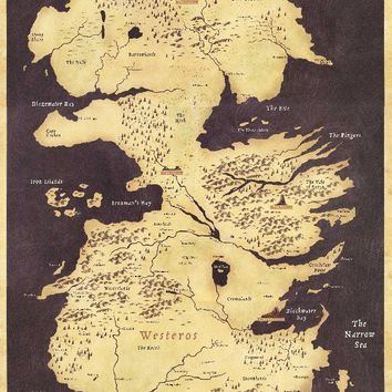 Game of Thrones World Map Westeros and Essos TV Poster Game poster high quality Fabric silk Picture printing Home Decor