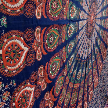 Feather mandala, boho tapestry,tapestries, mandala tapestry, indian large tapestry, dorm decor, beach throw,table throw, handmade tapestry