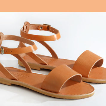 NAFSIKA , Leather Sandals, Minimal Ankle strap women sandals, Handmade Greek sandals
