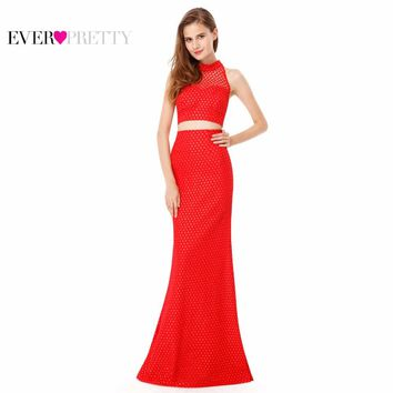 Prom Dress New Arrival Ever Pretty EP08958RD Red Mermaid Sleeveless Women Sexy Halter Long Prom Dress 2017