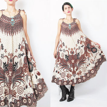 60s 70s Batik Print Dress Trapeze Dress Tent Bohemian Ethnic Sundress Brown Hippie Boho Summer Spaghetti Strap Ties Full Skirt Dress (S/M)