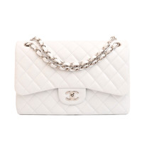 Chanel White Quilted Caviar Jumbo Classic 2.55 Double Flap Bag - Never Carried
