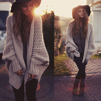 Fashion Bat Sleeve Hollow Cardigan Jacket Coat Knitwear Sweater