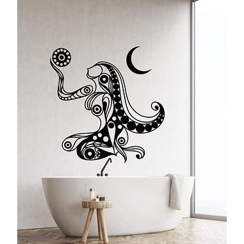 Vinyl Wall Decal Art Abstract Woman Ornament Sun Moon Home Interior Stickers (2796ig)