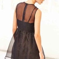 Keepsake End Of Time Silk Babydoll Dress- Black