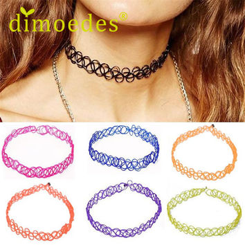 Best Seller Fashion New Sexy Elegant Simple Hot Stretch Gothic Tattoo Henna Choker Hippy Pendant Necklace Elastic Oct14