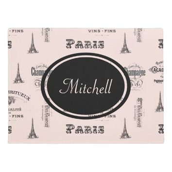 Paris Label French Pink Personalized Doormat