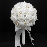 handmade Wedding bouquet flower crystal pearl silk lace Bride Hands Holding Rose Flower Wedding Bridal Bridesmaid Flower = 1929388036