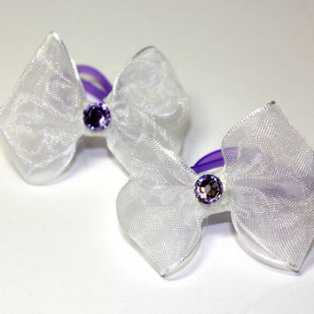 White Organza Dog Bow. White Dog Bow with Purple Rhinestone and Purple Elastics. Lavander Crystal Accents and Lilac Elastic Bands.Small Dog