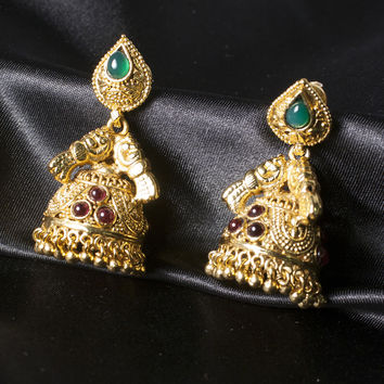 Nizam Antique Finish Jhumki Chandelier Earring with Rubies and Emeralds Jewelry Gift