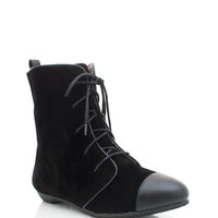lace-up-cap-toe-booties BLACK GREY - GoJane.com