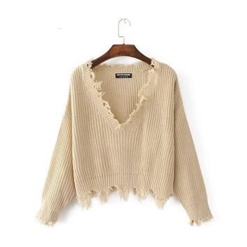 Pullover Ripped Hole Sweater Loose Casual Women Long Sleeve