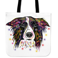 Colorful Border Collie Tote Bags