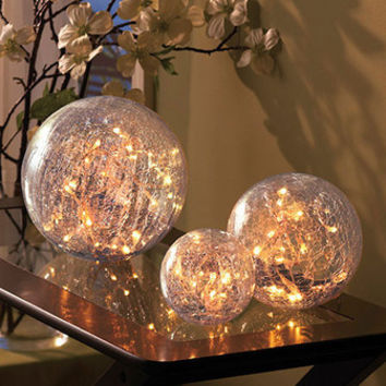 NEW Set of 3 Lighted Glass Balls Home Decor Cracked Glass Finish Decorative Orbs