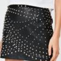 Missguided - Black Faux Leather Studded Mini Skirt