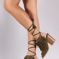 Qupid Feather Suede Peep Toe Lace Up Chunky Heel