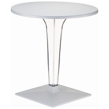 Ice Werzalit Top Round Dining Table with Transparent Base 24 inch Silver