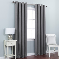 Grey Solid Heavyweight Textured Faux Linen Grommet Top Curtain Pair 84&quot
