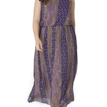 Streetstyle  Casual Crew Neck Chiffon Plus Size Maxi Dress In Floral Vertical Striped
