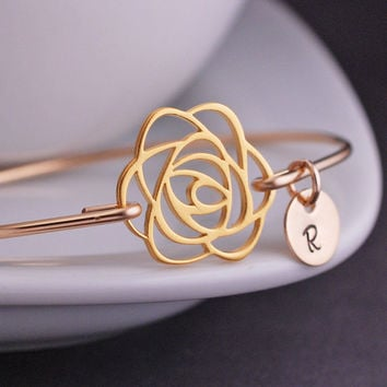 Gold Rose Bracelet, Rose Jewelry, Personalized Flower Bracelet