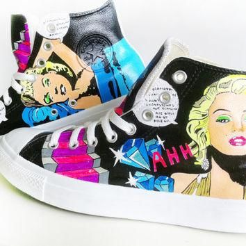 Marilyn Monroe Converse Hand Painted by PonkoWorld on Etsy