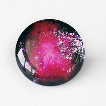 25mm handmade glass cabochon WITH GLITTERS - red galaxy