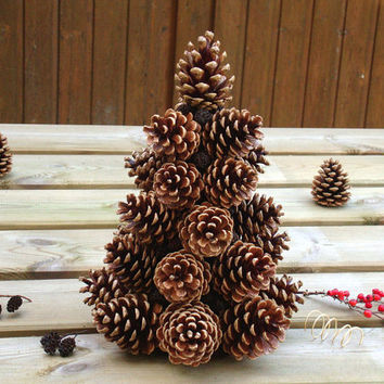 Pine cones christmas tree woodland from olgaartshop on etsy for Pine cone tree decorations
