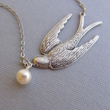 Silver Soaring Bird Necklace With Dangling by pinkingedgedesigns