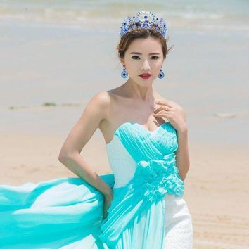 ac spbest 2017 Miss Universe Royal Regal Blue Gold Golden Quinceanera Bridal Royal Tiaras and crowns Queen Pagent Rhinestone For Bride