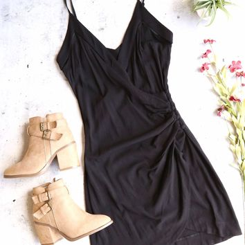 Free People Dylan Black Wrap Bodycon Mini Slip Dress