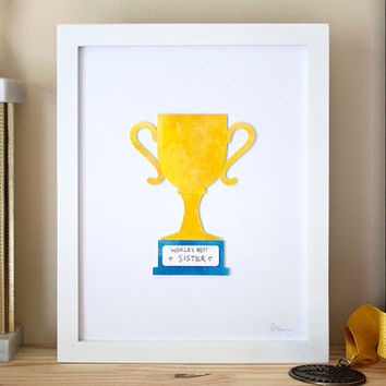 Unique Custom Trophy Award Watercolor Art Collage. Perfect for friends, family, colleagues, home office. Not a print!