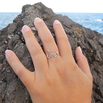 LOVE Ring, Sterling Silver, Dainty, Anniversary Gift, Sweetheart, Gift for Her, Handmade