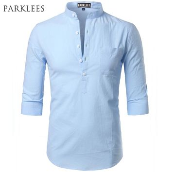 Fashion Cotton Linen Shirt Men Clothes Casual Slim Fit Mens Shirts Stand Collar Summer Short Sleeve Henley Shirt Chemise Homme