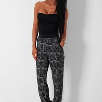 Brooklyn Black & White Harem Style Stretch Pants | Pink Boutique