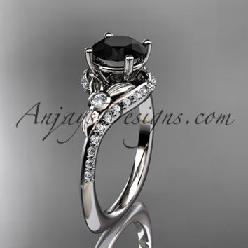 platinum diamond leaf and vine engagement ring with a Black Diamond center stone ADLR112