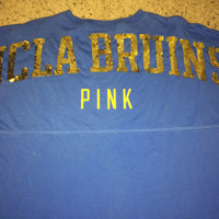 Sale!! Vintage Pink Victoria's Secret UCLA BRUINS blue long sleeve T-shirt NCAA Jersey Football tee