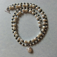 Freshwater Pearl, Black Crystal, and Silver Necklace