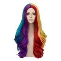 CosplayMix Lolita Rainbow Muticolor 28 Inches Long Curly Cosplay Carnival Wig+Cap